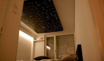 led Sterrenhemel verlichting plafond romantisch slaapkamer design realistisch verlaagd