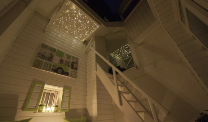 Fiber optic led star ceiling panels roof terrace design ideas twinkling stars sauna spa wellness resort starry night sky fibre light acoustic boards lighting twinkle