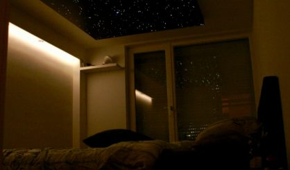 Fiber optic star ceiling panels LED lighting bedroom design tiles realistic boards MyCosmos