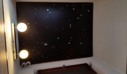 Fiber optic star ceiling panels tiles LED toilet wc twinkling stars sauna spa wellness resort starry night sky fibre light acoustic boards lighting twinkle