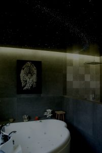 bathroom star ceiling fiber optic light panels tiles lights LED ceilings fibre lighting milky way sauna at night white spa wellness