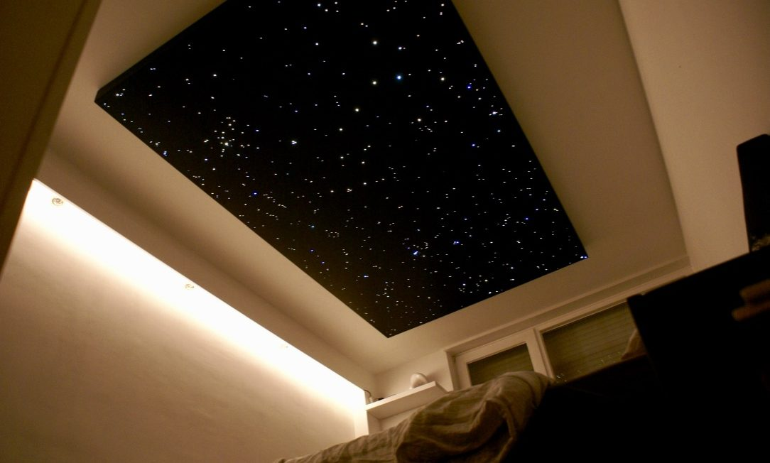 star ceiling Fiber optic panels LED lighting bedroom design tiles realistic boards MyCosmos
