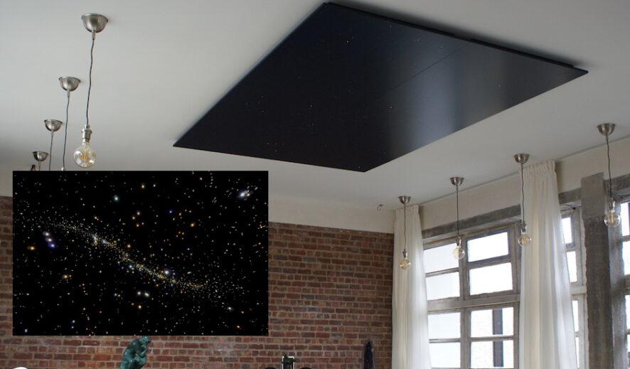 led sterrenhemel plafond verlichting glasvezel woonkamer design mooi verlaagd voorbeeld ideeen mycosmos
