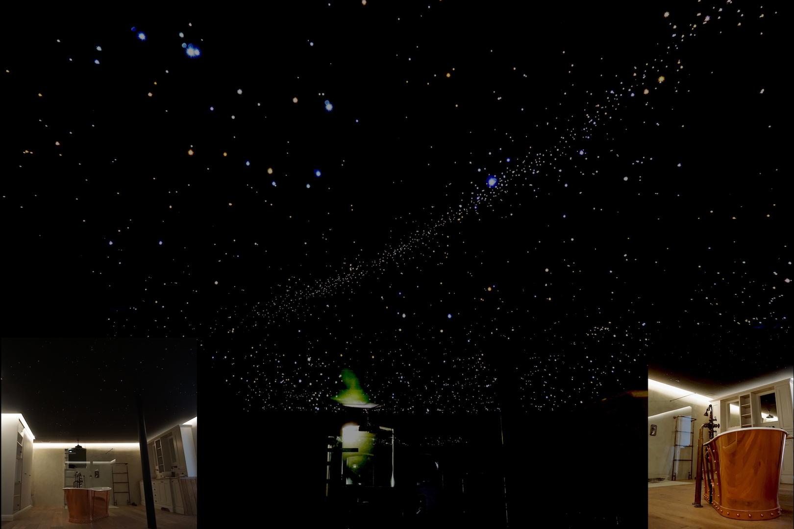 mycosmos ciel étoilé fibre optic plafond led chambre etoile étoile salle de bain sauna spa luxe voies lactées photos image