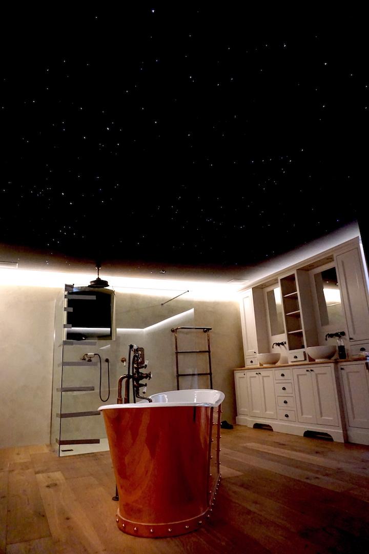 mycosmos ciel etoile plafond fibre optic led chambre etoile étoile salle de bain sauna spa luxe voies lactées photos image