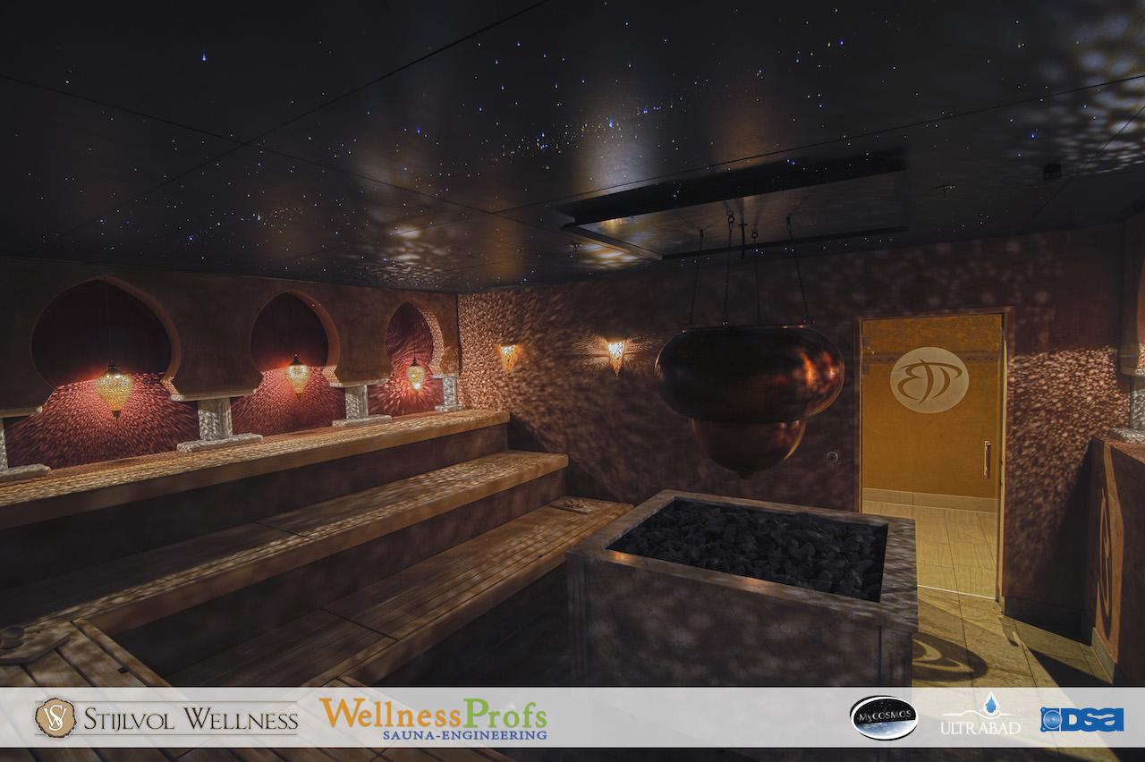 mycosmos sauna sterrenhemel plafond verlcihting 1001nacht Berendonck