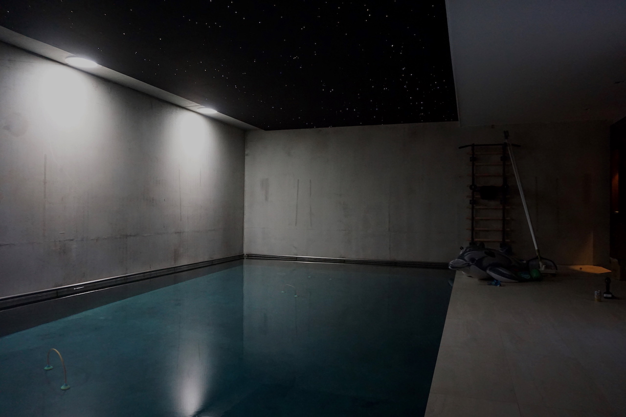 zwimming pool fiber optic star ceiling MyCosmos panels led starry night sky light lightning galaxy jacuzzi